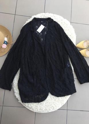 Ажурный пиджак жакет кардиган накидка большого размера