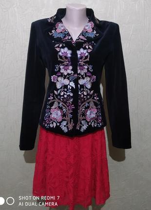 Пиджак, жакет велюровый с вышивкой, винтажный
