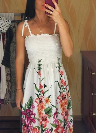 Сарафан, летнее платье, платье на завязках, платье с цветами hibiscus collection hawaii, xs, s, m