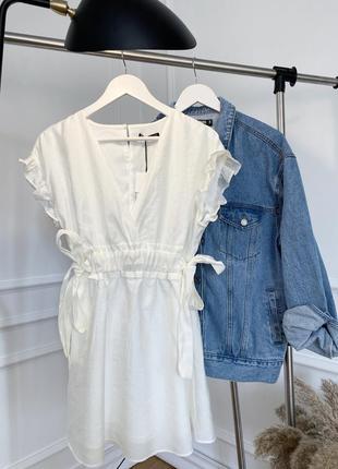 Белое, летнее, лёгкое платье zara с рюшей и бантами