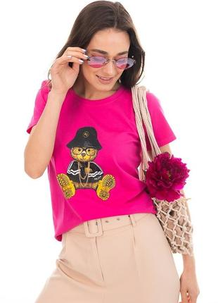 Женская футболка с медвежонком в стиле moschino фуксия