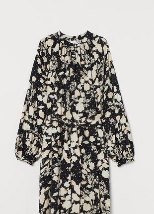 H&m широкое платье-рубашка, длинные обьемные рукава, цветочный принт, новая коллекция, оверсайз