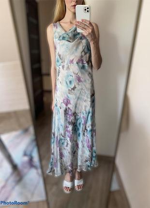 100% шёлк. светлое платье акварель на лето миди