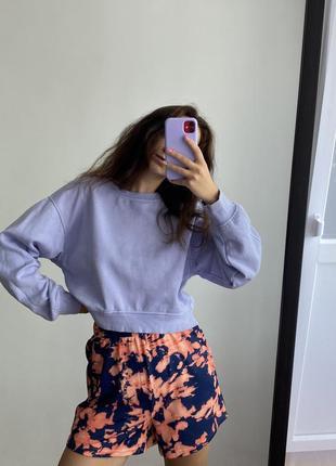 Укорочений лиловый свитшот zara