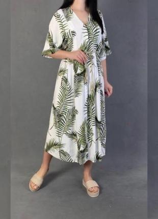 Макси платье с поясом h&m zara в пальмовых ветках