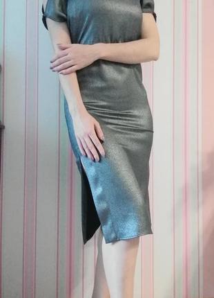 Платье миди с разрезами цвета металлик