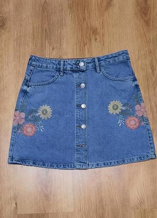 Юбка джинсовая с вышивкой denim co