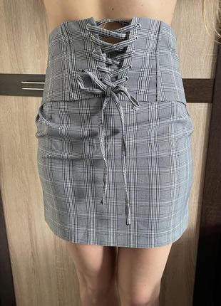 Юбка юбка в клетку мини-юбка