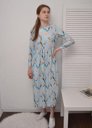 Голубое платье в цветы beom