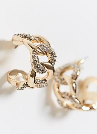 Новые сережки кольца с камешками от asos