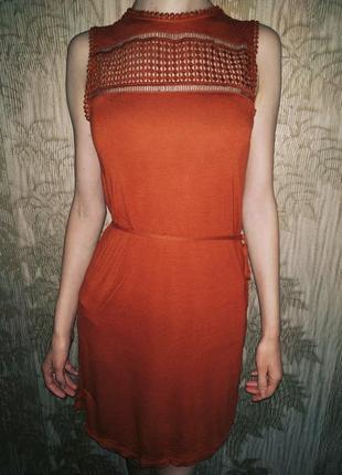 H&m платье, сарафан, нарядное платье миди, ажурное платье, терракотовое платье, вискоза