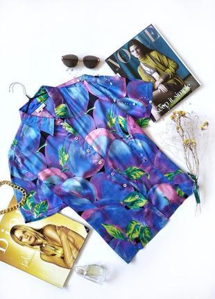 Рубашка винтаж шелк otto kern принт сливы люкс