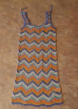 Вязаное платье -туника на пляж