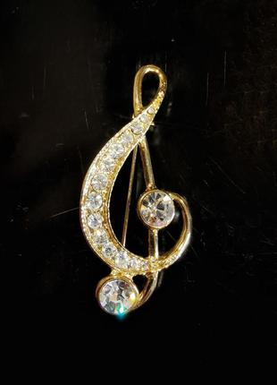 Винтажная брошь скрипичный ключ в стразы камни кристаллы