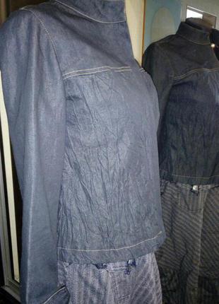 Пиджак рубашка на молнии из тонкого денима с эффектом жатки
