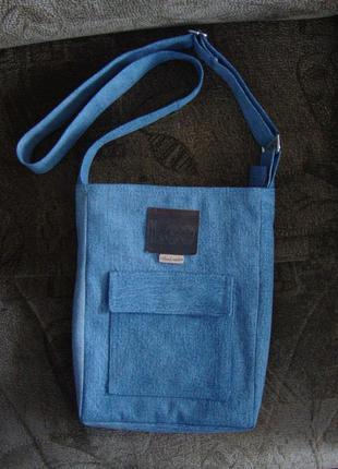 Джинсовая сумка планшет ручная работа