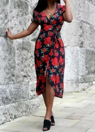Распродажа натуральное платье atmosphere primark с обрками и принтом розы с asos