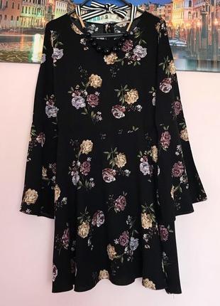 Стильное натуральное платье в цветы