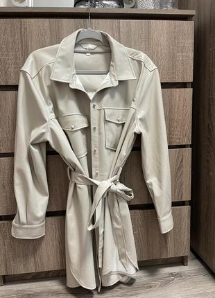 Кожаный пиджак h&m