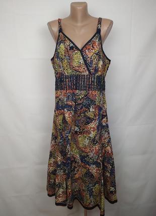 Платье сарафан новое хлопковое красивое в принт marks&spencer uk 16/44/xl