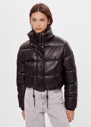 Куртка (faux leather puffer jacket) bershka ❗розпродаж❗