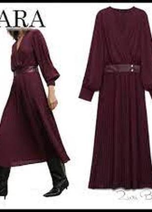 Плисированное платье средней длины зара zara, размер l. оригинал