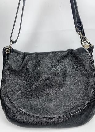 Большая кожаная фирменная обьемная сумка на/ через плечо jacky & celine.