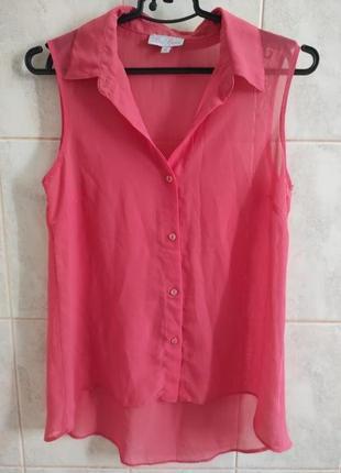 Шифоновая удлиненная блузка безрукавка