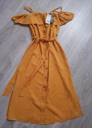 Льняное платье с открытыми плечами f&f