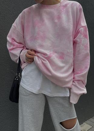 Розовый свитшот тай-дай