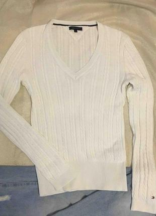 Tommy hilfiger стильный белый свитер (хлопок)