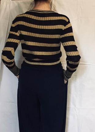Синий свитер с золотыми полосками и люрексом zara