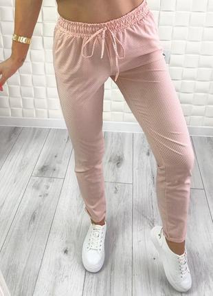 Штаны женские в горошек брюки повседневные норма и батал софт