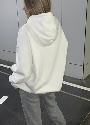 Белый худи на флисе