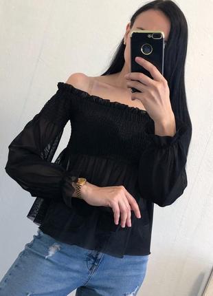Красивый чёрный топ сеточка на плечи