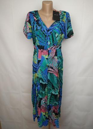 Платье новое стильное в тропический принт uk 12/40/m