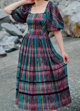 Платье австрия цветное старинное винтажное объемные рукава s лен хлопок
