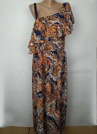 Платье модное легкое в анималистический принт большой размер peacocks uk 18/46/xxl