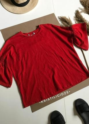 Красный джемпер свитшот с короткими рукавами l-xl-xxl