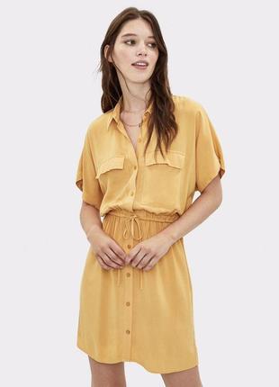 Гірчична сукня bershka
