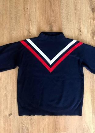 Оченята качественный и красивый свитер (кофта) синий в полоску mango объемные рукава шерсть
