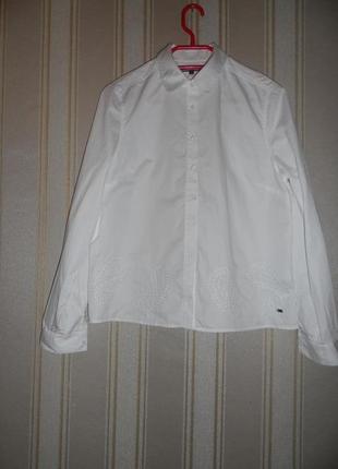 Белая женская рубашка длинный рукав размер 38// м  хлопок