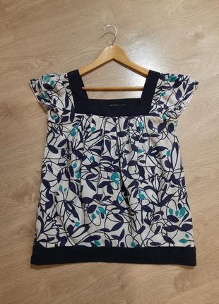 Блуза лето лёгкая синяя белая