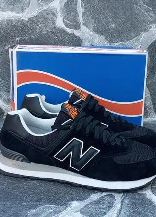 Муские кроссовки new balance 574 черные. замша и сетка