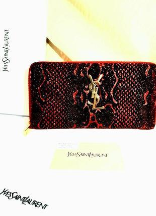Кошелек клатч с блестками черно-красный из лазеоной кожи