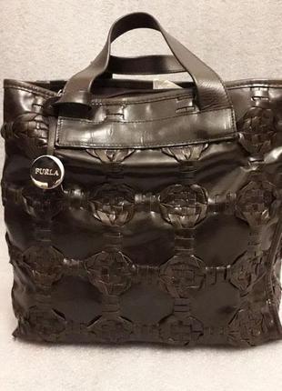Кожаная  сумка- шоппер  furla