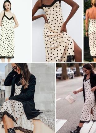 Zara платье в бельевом стиле с кружевом в горох