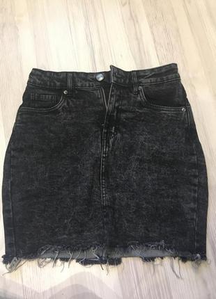 Джинсовая чёрная юбка