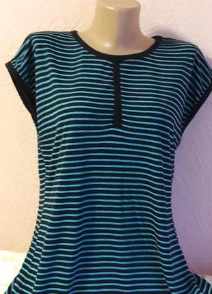 Легкая футболка в бирюзовую полоску с люрексои вискоза акция 1+1 =3 на блузы , рубашки , футболки
