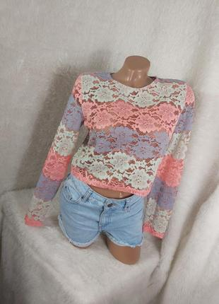 Шикарный кружевной топ блуза футболка майка